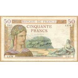 50 Francs Cérès 27-12-1934 J.176