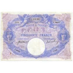 50 Francs bleu et rose 3-10-1912 Z.4432
