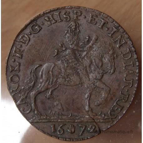 Flandres Jeton Charles II d'Espagne 1672 Bureau des Finances.