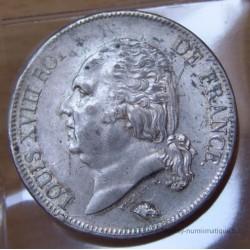 5 Francs Louis XVIII buste nu 1823 B Rouen