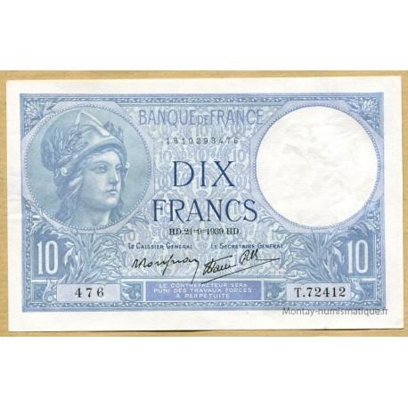 10 Francs Minerve 21-9-1939