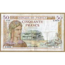 50 Francs Cérès 02-2-1939 B.9606