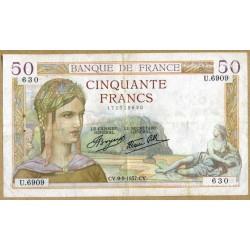 50 Francs Cérès 9-9-1937