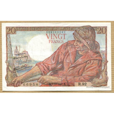 20 Francs Pêcheur 7-10-1943 R.92