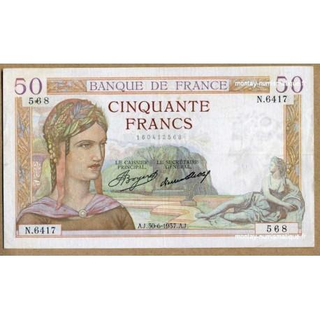 50 Francs Cérès 30-6-1937 N.6417