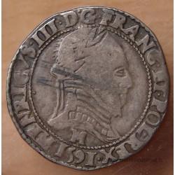 Henri III Demi Franc Col plat 1591 M Toulouse