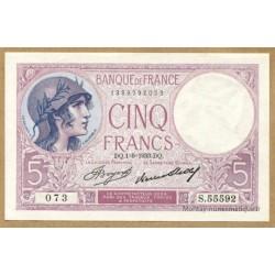 5 Francs Violet 1-6-1933 B.55592