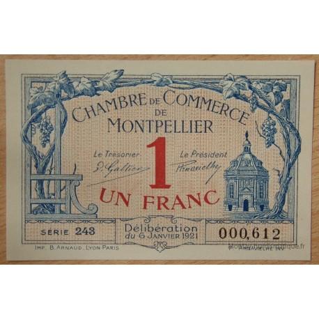 Montpellier (34) 1 Franc 6 janvier 1921 série 243