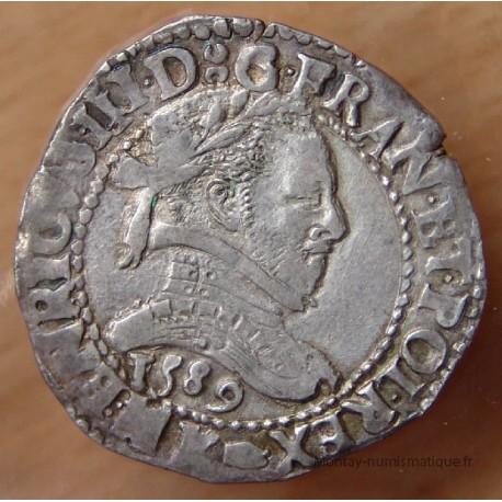 HENRI III -Demi Franc au col plat 1589 K Bordeaux