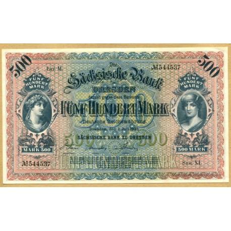 Allemagne - 500 Mark 01 juillet 1922 Dresden