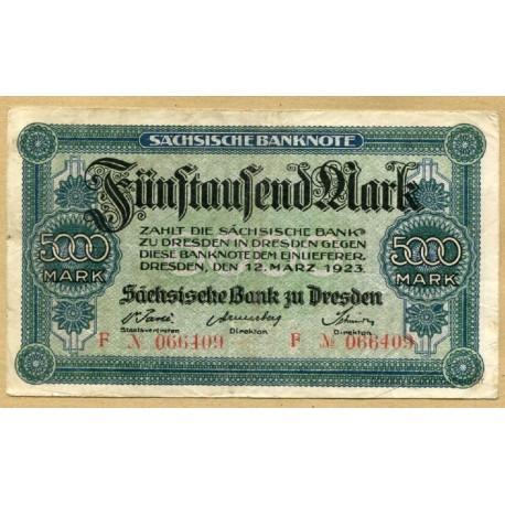 Allemagne - 5000 Mark 12 mars 1923 Dresden
