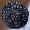 Henri III Huitième d' Ecu croix de face 1588 Rennes