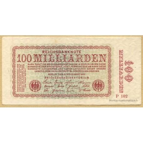 Allemagne - 100 Milliard de Mark 1923 - Reichsbanknote
