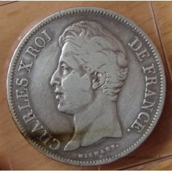5 Francs Charles X 1830 A tranche relief