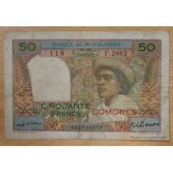 """Les Comores - 50 Francs surchargé """"Comores"""" sans date ( 1963)"""