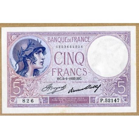 5 Francs Violet 5-1-1933 P.52147