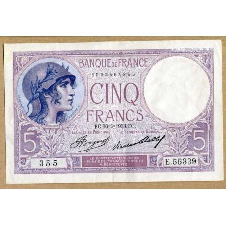 5 Francs Violet 26-5-1933 E.55339