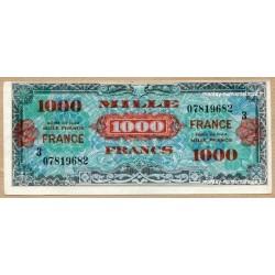 1000 Francs Verso France Juin 1945 série 3 Fauté décentré