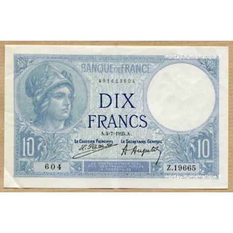 10 Francs Minerve 4-7-1925 Z.19665