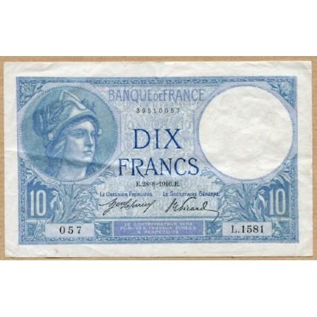 10 Francs Minerve 28-8-16 L.1581