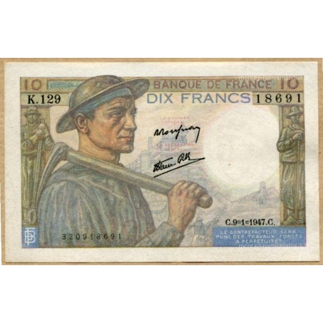 10 Francs Mineur 9-1-1947 K.129