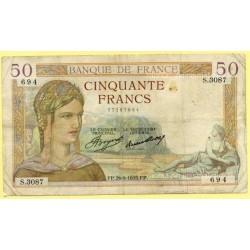 50 Francs Cérès 26-9-1935 S.3087