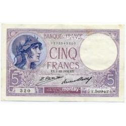 5 Francs Violet 1-12-1932 T.50942
